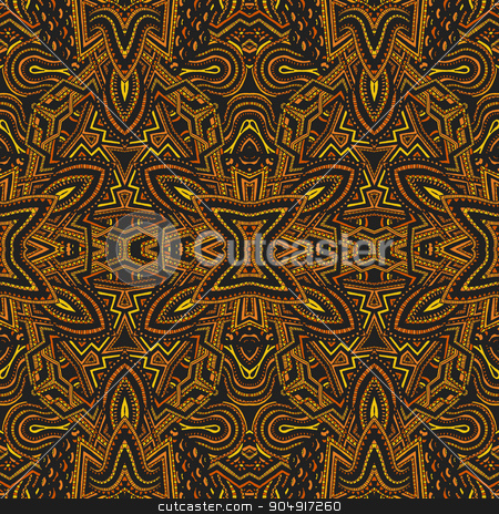 colored hand drawn psychedelic zentangle pattern stock vector clipart, vector yellow gold colored hand drawn abstract psychedelic zentangle seamless pattern illustration   by Alexey Kurenkov