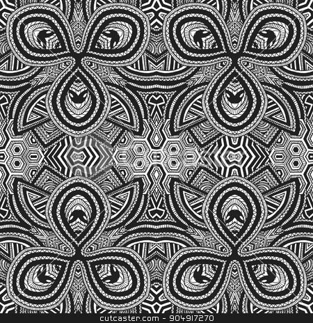 monochrome hand drawn seamless zentangle pattern stock vector clipart, vector black monochrome hand drawn geometric zentangle optical art seamless pattern illustration white background   by Alexey Kurenkov