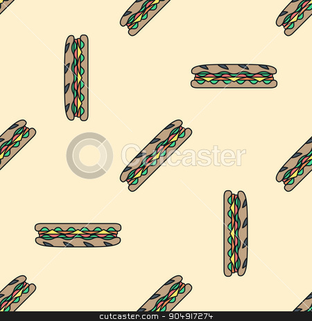 sub sandwich colored seamless pattern stock vector clipart, vector colored submarine rye baguette sandwich salad ham cheese tomato seamless pattern on light orange background  by Alexey Kurenkov