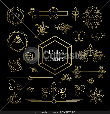 Icon set gold line art mono outline ornament flower stock vector clipart, Design element set, mono line art ornamental decoration in gold outline style. Includes nature, plant, leaf and flower icons. EPS10 vector.     by Cienpies Design