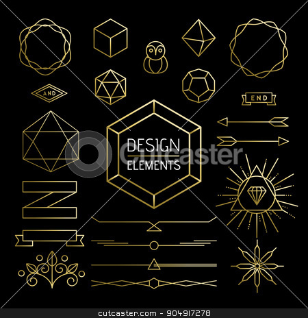 Element set gold hipster outline lettering label stock vector clipart, Design element collection, retro hipster outline icons in gold color. Includes mono line style lettering shapes, banner, labels and geometry decoration. EPS10 vector.  by Cienpies Design