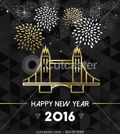 New Year 2016 london uk tower bridge travel gold stock vector clipart, Happy New Year 2016 London greeting card with England landmark tower bridge in gold outline style. EPS10 vector. by Cienpies Design