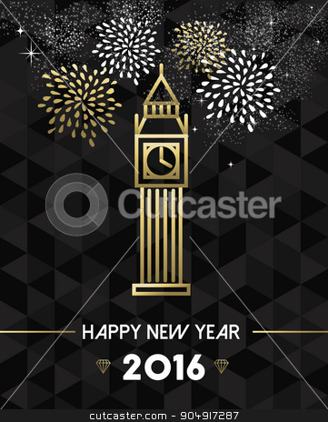 New Year 2016 london uk europe travel gold  stock vector clipart, Happy New Year 2016 London greeting card with england monument big ben clock in gold outline style. EPS10 vector. by Cienpies Design