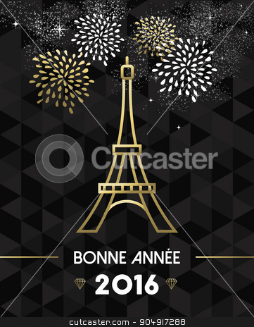 New Year 2016 Paris France travel Eiffel gold stock vector clipart, Happy New Year 2016 Paris greeting card with France monument Eiffel Tower in gold outline style. EPS10 vector. by Cienpies Design