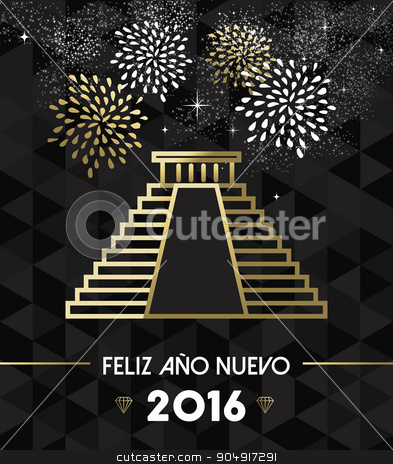 New Year 2016 mexico chichen itza travel gold stock vector clipart, Happy New Year 2016 Mexico greeting card with historic landmark Chichen Itza pyramid in gold outline style. EPS10 vector. by Cienpies Design