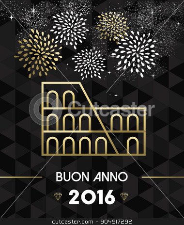 New Year 2016 rome colosseum travel gold stock vector clipart, Happy New Year 2016 Rome greeting card with Italy historic landmark Colosseum in gold outline style. EPS10 vector. by Cienpies Design