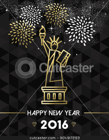 New Year 2016 NYC USA travel statue liberty gold stock vector clipart, Happy New Year 2016 New York greeting card with USA United States statue of Liberty in gold outline style. EPS10 vector. by Cienpies Design