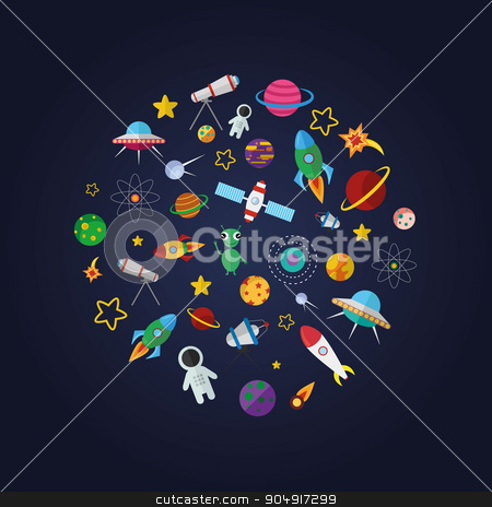 Flat design composition of space icons stock vector clipart, Flat design composition space icons and infographics elements by TatyanaGorelova
