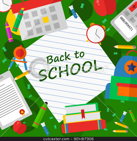 Back to school poster with text Vector illustration stock vector clipart, Back to school poster with text illustration by TatyanaGorelova