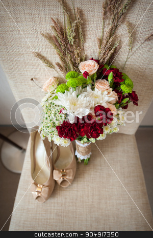 Bridal bouquet and bride shoes stock photo, Bridal bouquet and bride shoes. by timonko