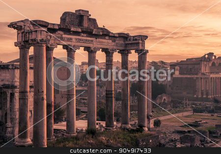 Rome, Italy:Temple of Saturn n the Roman Forum stock photo, Rome, Italy: Temple of Saturn, Latin: Templum Saturni or Aedes Saturnus, Italian: Tempio di Saturno, in Roman Forum, Latin: Forum Romanum, Italian: Foro Romano in beautiful sunrise of Italian winter by krivinis