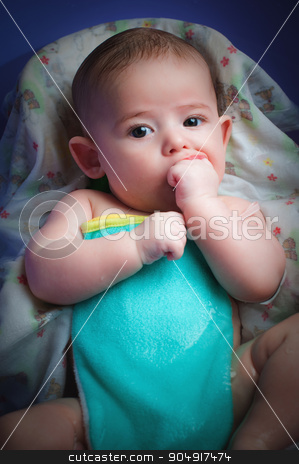 A baby bathing in the bathtub. stock photo, A baby bathing in the bathtub at home. by agnormark