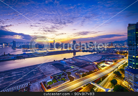 Hong Kong stock photo, Hong Kong city sunset, view from kowloon. by Keng po Leung