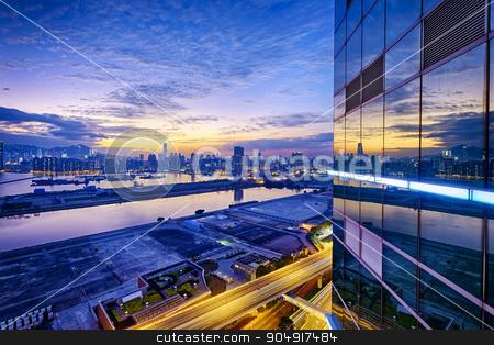 Hong Kong stock photo, Hong Kong city sunset, view from kowloon. by Keng po Leung