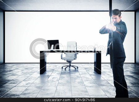 Aspire to success stock photo, Businessman with bow and background with office by Federico Caputo