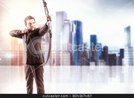 Targeting stock photo, Businessman with bow and city view background by Federico Caputo