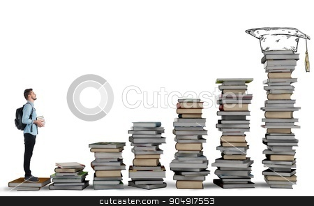 Degree course stock photo, Student climbing a ladder of study books by Federico Caputo