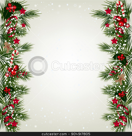 Christmas background with fir and snowflakes stock vector clipart, Christmas background with tree branch border with berry and ribbon.  by monicaodo