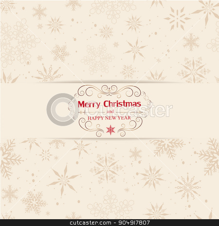 Christmas And New Year Greeting Card stock vector clipart, Christmas background with snowflake. Merry Christmas and Happy new year message.Vintage ornament decoration. by monicaodo