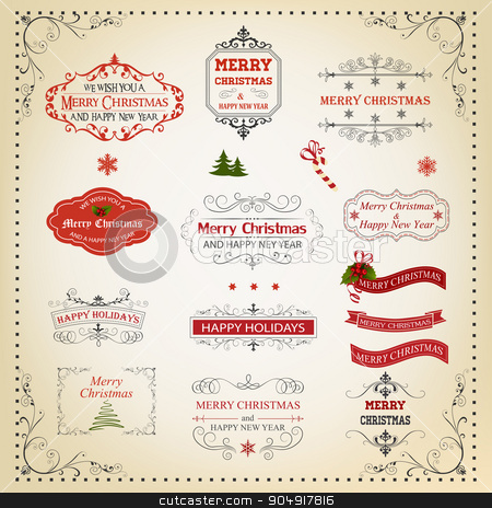Christmas And New Year Calligraphic And Typographic design eleme stock vector clipart, Christmas And New Year Calligraphic And Typographic Design Elements, Page Decoration, Labels, Symbols And Icons Elements by monicaodo