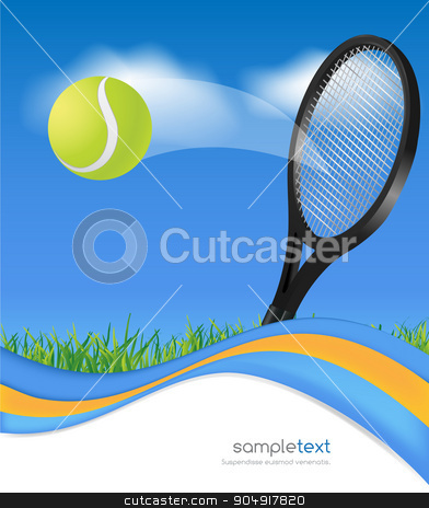 Tennis ball and racket stock vector clipart, Tennis ball and racket on blue wave background by monicaodo