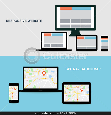 Flat designed banners stock vector clipart, Flat designed banners for responsive website and GPS Navigation map on on media technology devices by monicaodo