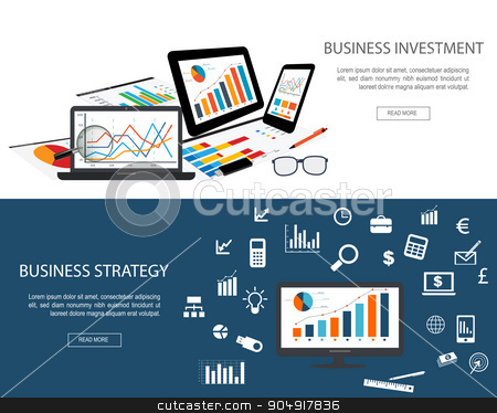 Flat designed banners stock vector clipart, Flat designed banners for Business Investment and Business Strategy by monicaodo