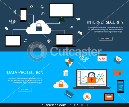 Flat designed banner stock vector clipart, Set of flat design concepts for Internet Security and Data Protection by monicaodo
