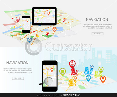 Flat designed banners stock vector clipart, Mobile navigation concept. Modern set of flat design concepts with city map gps navigator on smartphone and tablet screen.  Concepts web banner web sites, infographics and printed materials.  by monicaodo