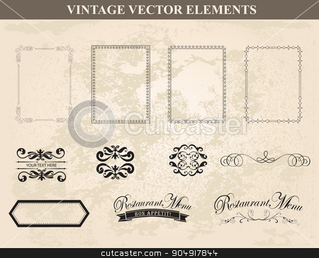 Decorative vintage frames and borders set vector stock vector clipart, Decorative vintage frames and borders set vector.Abstract vintage frame design in various styles.Vector Vintage Ornament  by monicaodo
