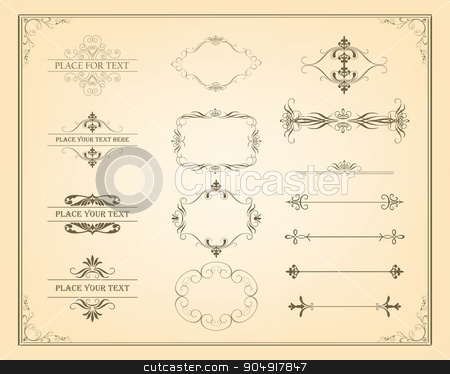 Decorative vintage frames and page decoration elements stock vector clipart, Decorative vintage frames, borders and page decoration elements. Calligraphic design elements. Vector Vintage Ornament  by monicaodo