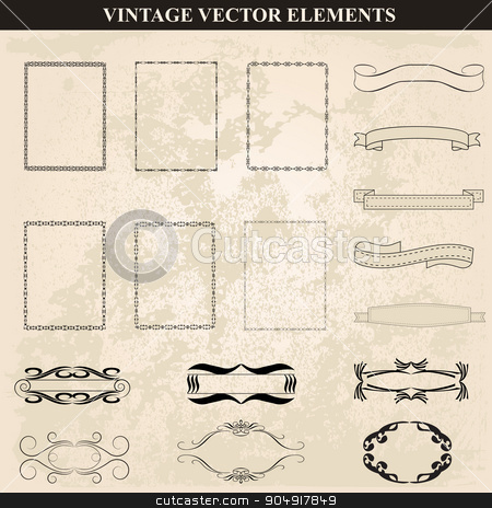 Decorative vintage frames, ribbons and borders set vector stock vector clipart, Decorative vintage frames and borders set vector.Abstract vintage frame design in various styles.Vector Vintage Ornament  by monicaodo