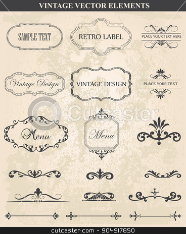 Decorative vintage set of calligraphic design elements stock vector clipart, Decorative vintage set of calligraphic design elements: frames, borders, floral ornaments,  page decoration. Abstract vintage frame design in various styles. Vector Vintage Ornament  by monicaodo
