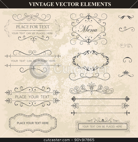 Decorative vintage frames ribbons and borders set vector stock vector clipart, Decorative vintage frames ribbons and borders set vector. Abstract vintage frame design in various styles. Vector Vintage Ornament  by monicaodo