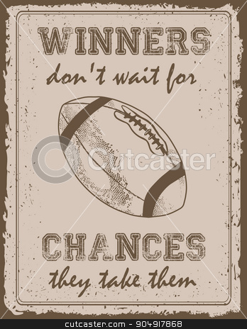 Vintage sport poster stock vector clipart, Vintage sport poster with motivation quote old paper background by monicaodo