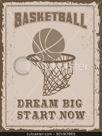 Vintage sport poster stock vector clipart, Vintage sport poster with on old paper background by monicaodo