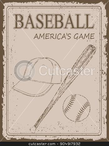 Vintage baseball poster stock vector clipart, Vintage baseball poster on old paper background by monicaodo