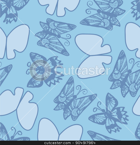 Background with branches, flowers and butterflies stock vector clipart, seamless background with branches, flowers and butterflies by Aleksandra Serova