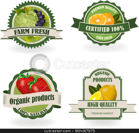 Set of Fresh Organic Fruit Labels stock vector clipart, Set of healthy and organic fruit labels. Ecology theme.  by monicaodo