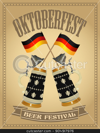 Oktoberfest beer festival poster stock vector clipart, Oktoberfest poster with two German beer stein  by monicaodo