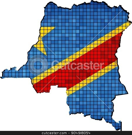 Democratic Republic of the Congo map with flag inside stock vector clipart, Democratic Republic of the Congo map with flag inside,  Outline map of Democratic Republic of Congo with flag, Congo map grunge mosaic, Map of Congo map in mosaic,  Abstract grunge mosaic vector by Jugoslav