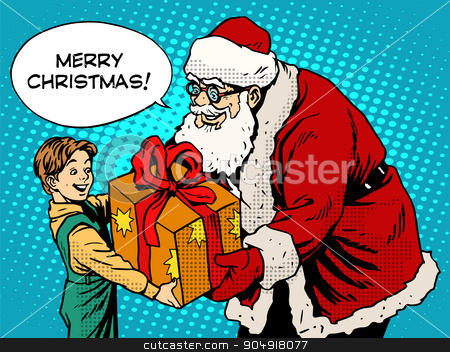 Merry Christmas Santa Claus gift gives the child stock vector clipart, Merry Christmas Santa Claus gift gives the child pop art retro style. The holidays New year and Christmas. Childhood and congratulation. Magic character by studiostoks