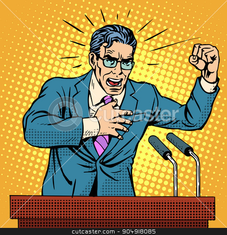 Election campaign policy candidate at the podium speech stock vector clipart, Election campaign policy candidate at the podium speech pop art retro style. Election promises. Candidate to Parliament, the presidency or the Senate. A middle-aged man. Hate speech by studiostoks