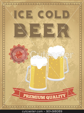 Vintage beer poster stock vector clipart, Vintage beer poster with grunge effects. by monicaodo