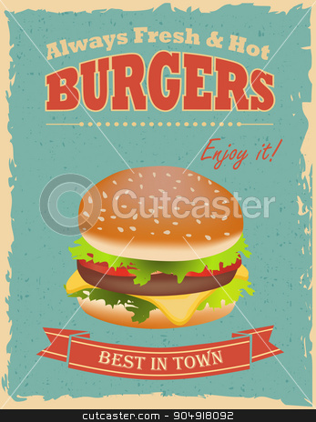 Vintage Burgers poster stock vector clipart, Fast food restaurant poster with retro hamburger  by monicaodo