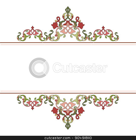 Antique Ottoman borders and frames series fifty one stock vector clipart, Borders and frames are designed with Ottoman motifs by Sevgi Dal
