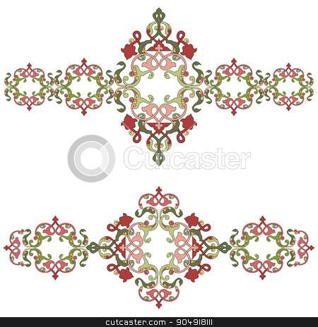 Antique Ottoman borders and frames series fifty three stock vector clipart, Borders and frames are designed with Ottoman motifs by Sevgi Dal