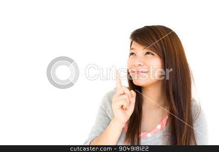Thai woman think to something stock photo, Thai woman is thinking to something (Blank area at left side for fill something) by stockdevil