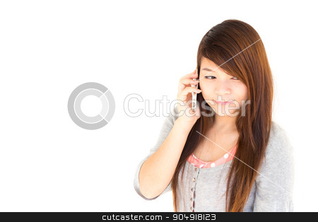 woman call to someone stock photo, Asian woman is calling to someone on white background and blank area at left side by stockdevil