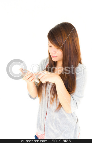 woman chat with someone stock photo, Asian woman chat with someone by moblie phone on white background and blank area at left side by stockdevil